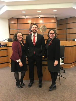 students and Professor Cover in Courtroom